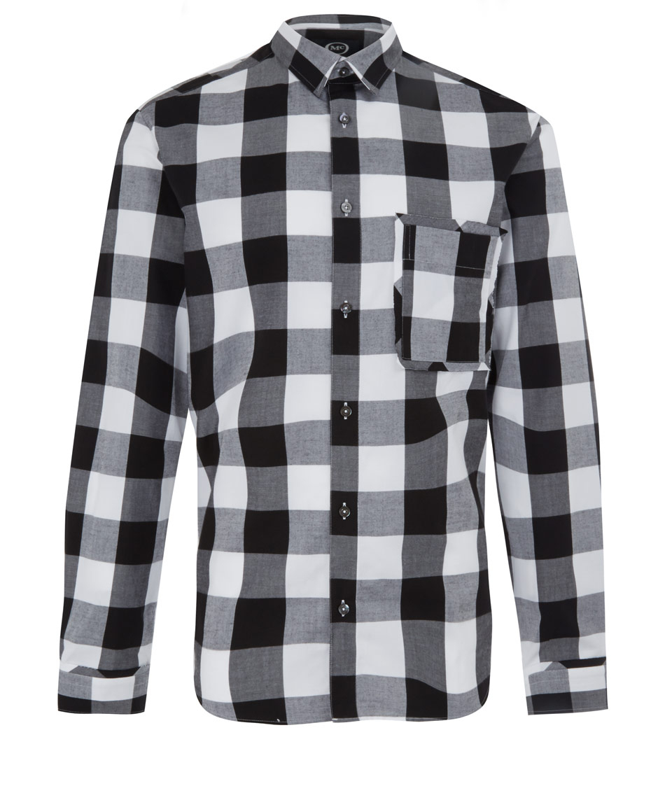 Mcq black and white check raw pocket shirt in black for for Black and white checker shirt