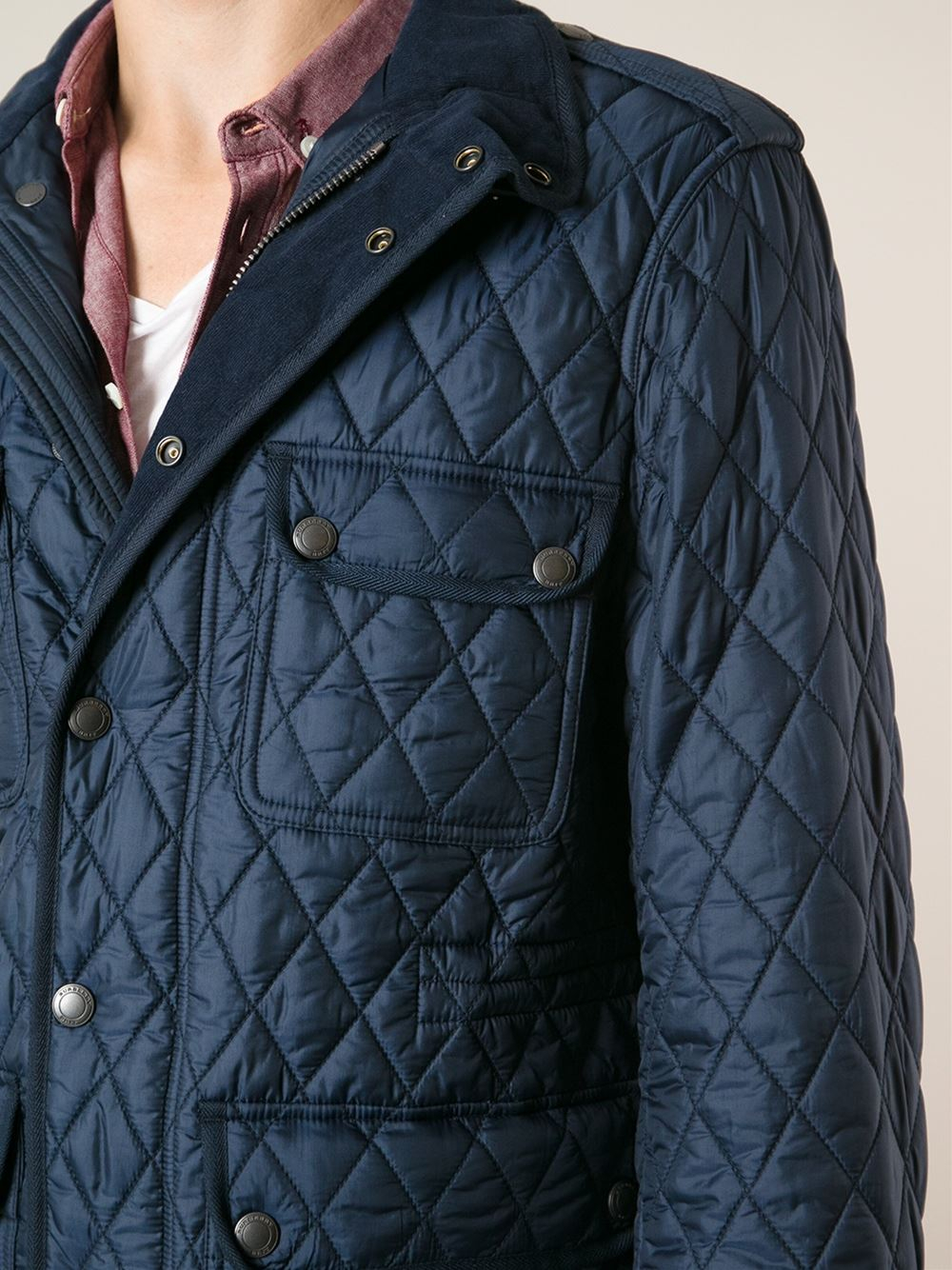 Burberry Brit Diamond Quilted Field Jacket In Blue For Men