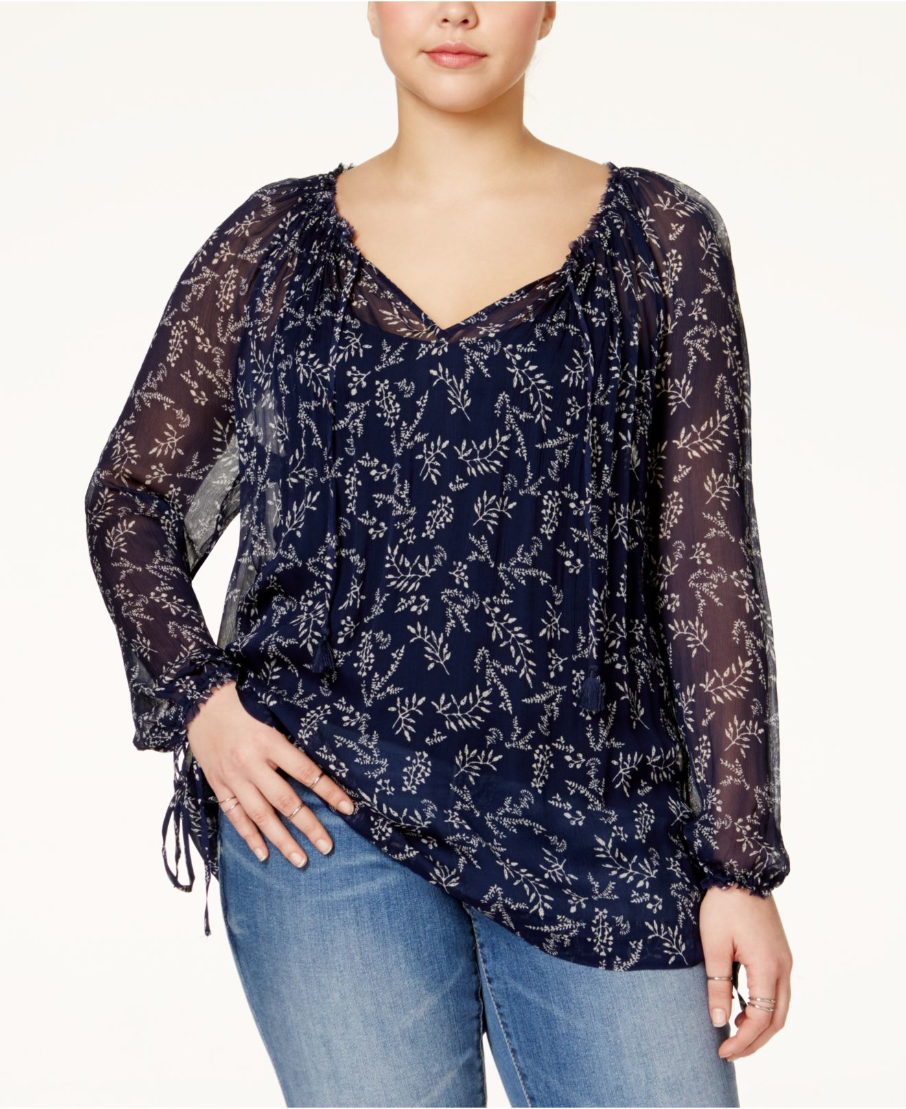 2fafeaee26b0 Lyst - Lucky Brand Plus Size Floral-print Peasant Top in Blue