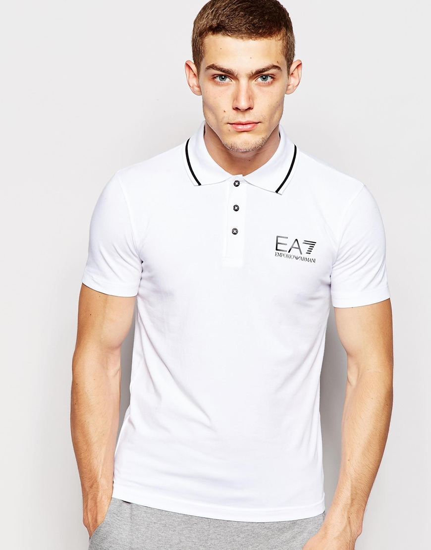 Lyst ea7 emporio armani polo shirt in muscle fit with for White fitted polo shirts