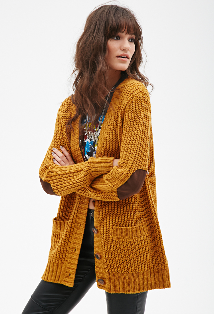 Forever 21 Chunky Knit V-neck Cardigan in Yellow | Lyst