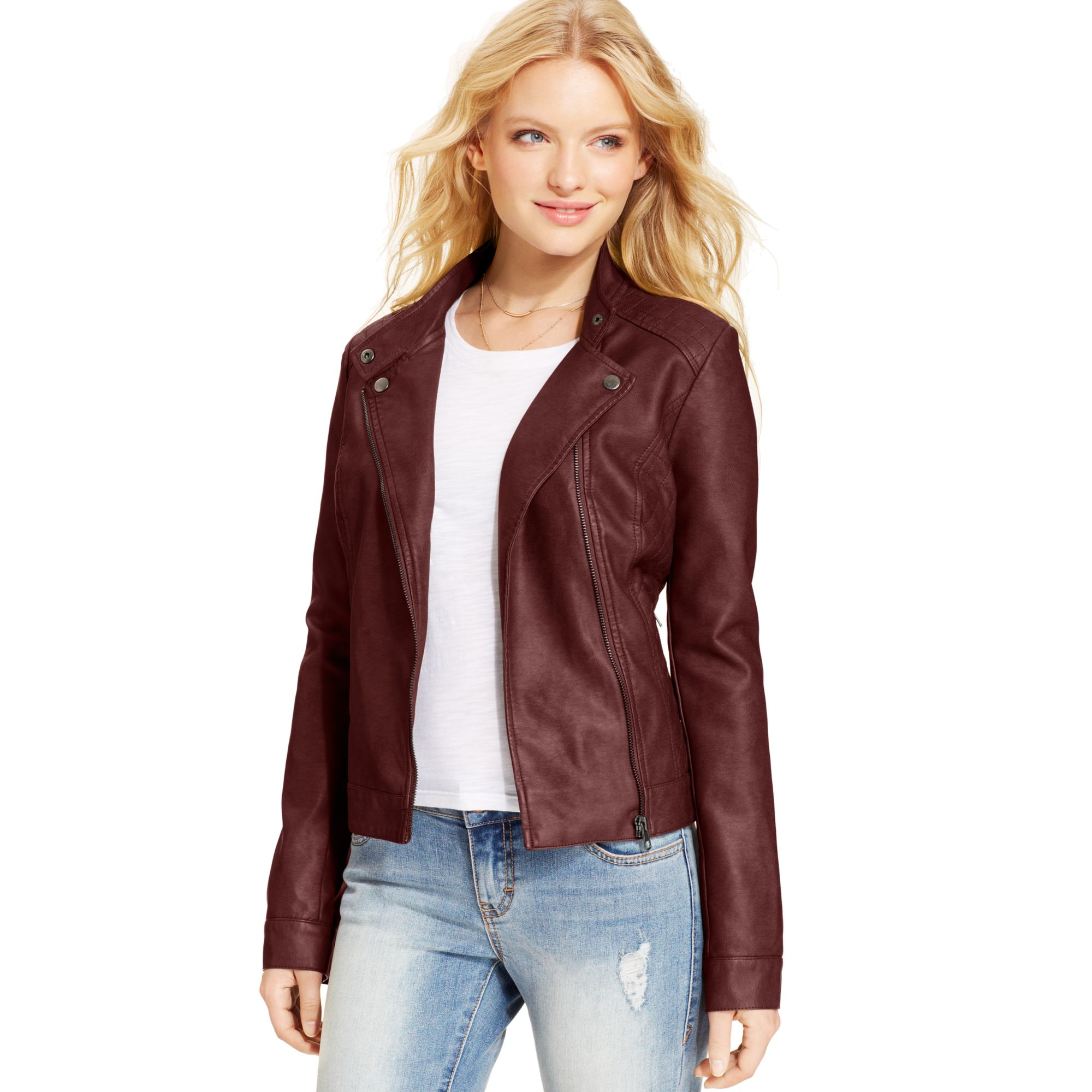 d1113e47d33 Lyst - American Rag Faux Leather Quilted Moto Jacket in Red