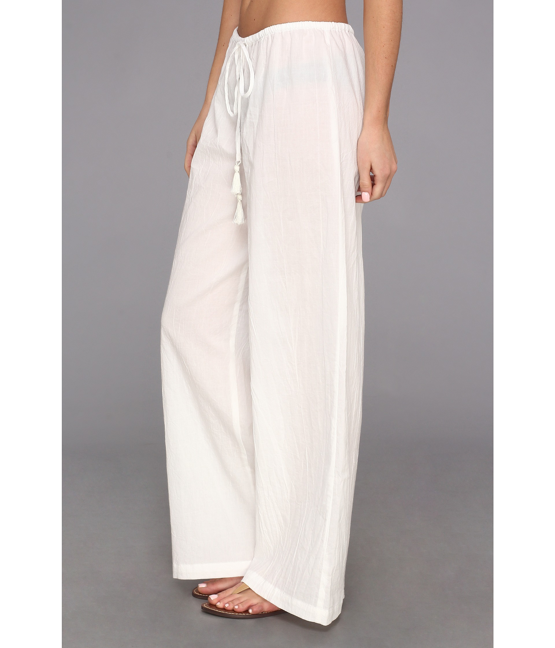 c967d372 Tommy Bahama Crinkle Cotton Drawstring Long Pant W Tassels in White - Lyst