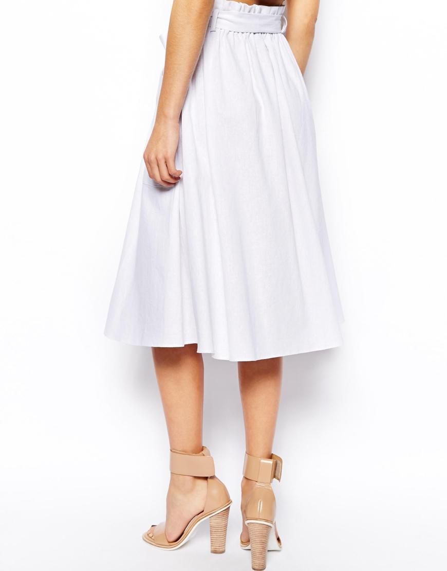 Asos Linen Midi Skirt With Pocket Detail in White | Lyst