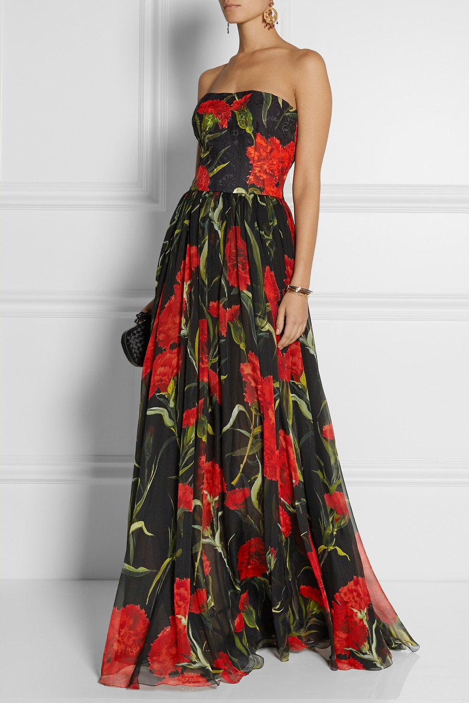 Lyst Dolce Amp Gabbana Printed Floral Brocade And Chiffon