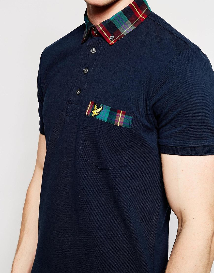 Lyst lyle scott polo shirt with tartan collar in blue for Blue and green tartan shirt