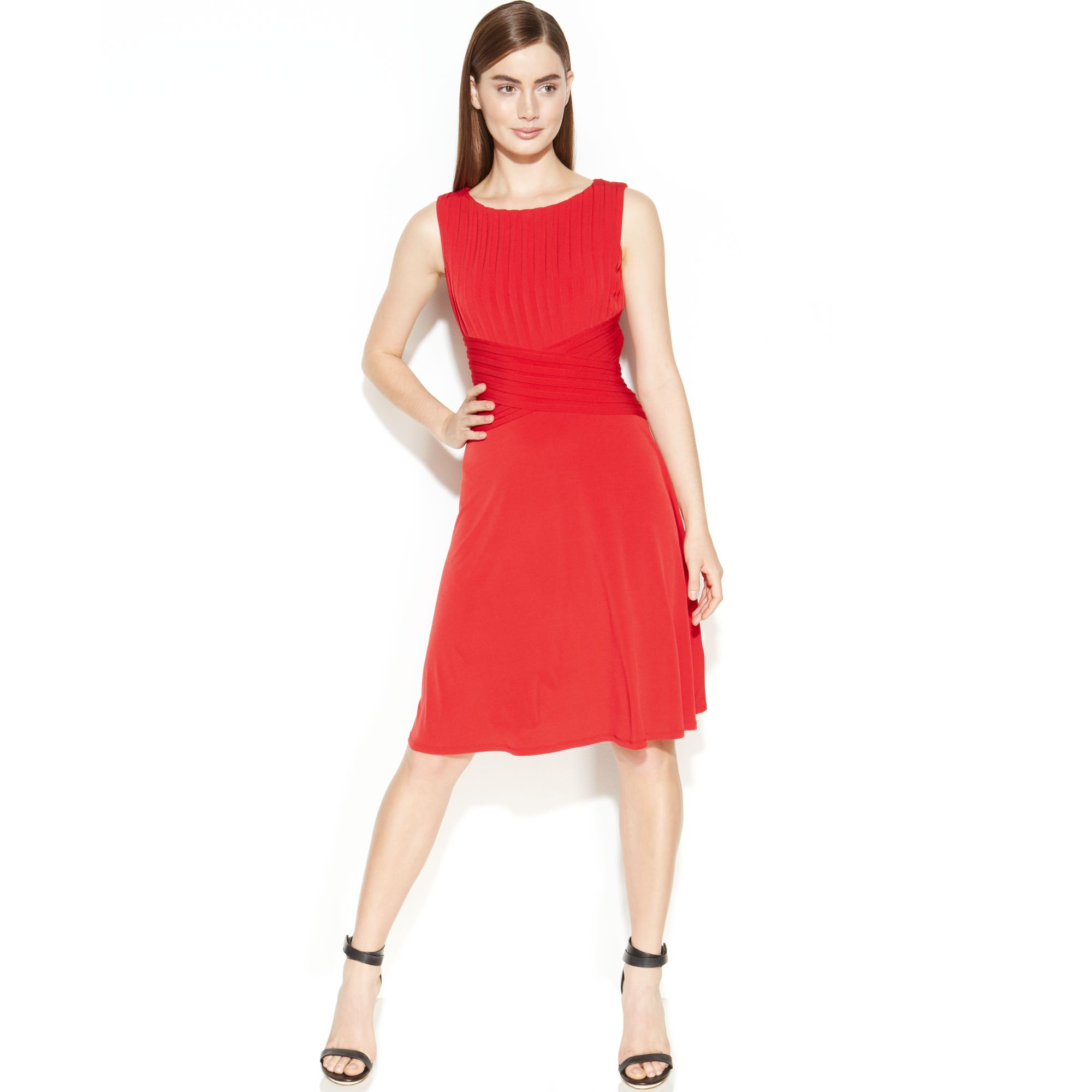 Lyst Calvin Klein Sleeveless Shutter Pleat Dress In Red