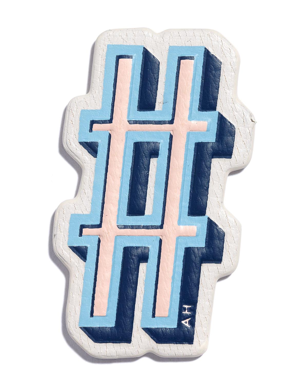 anya hindmarch leather sticker for handbag in blue lyst. Black Bedroom Furniture Sets. Home Design Ideas