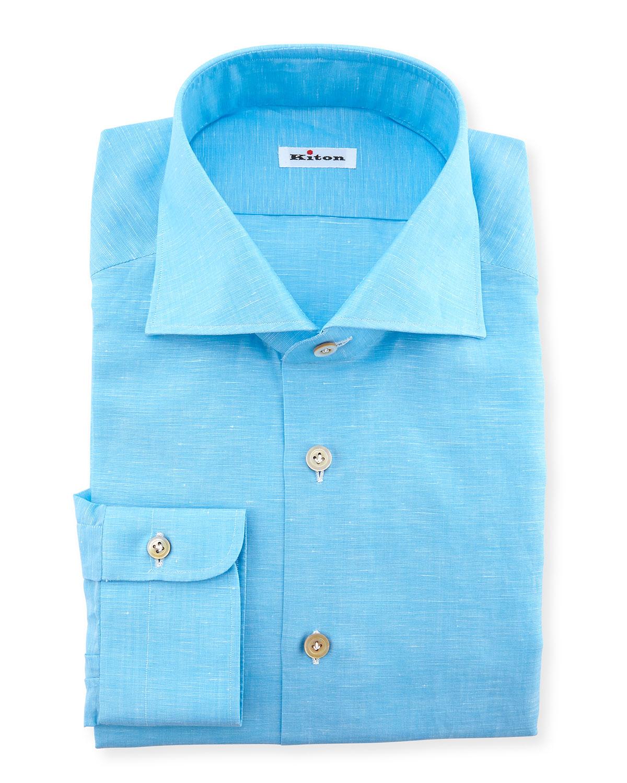 Kiton solid button down dress shirt in blue for men lyst for Aqua blue mens dress shirt