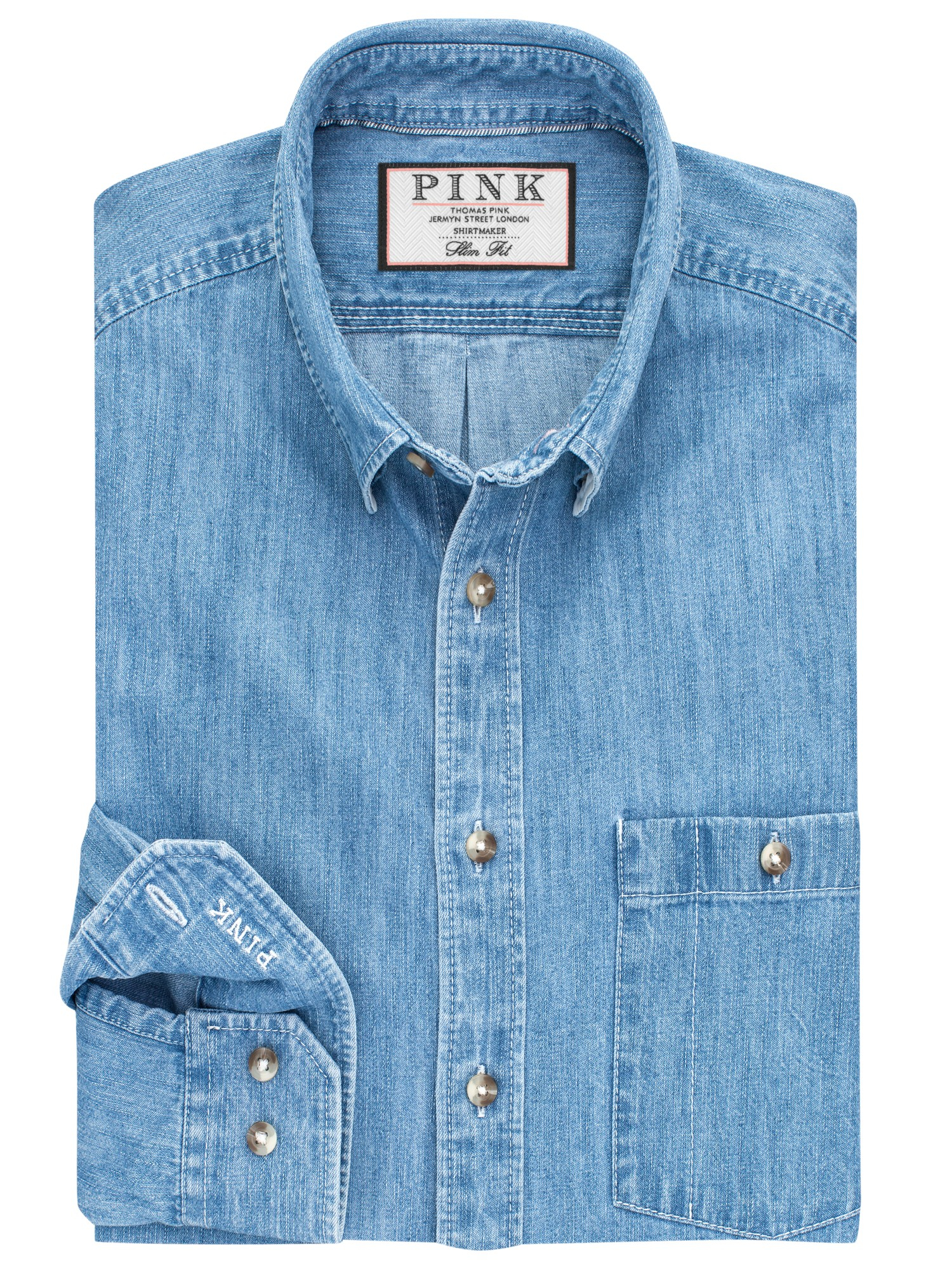 Thomas pink Nash Slim Fit Denim Shirt in Blue for Men | Lyst