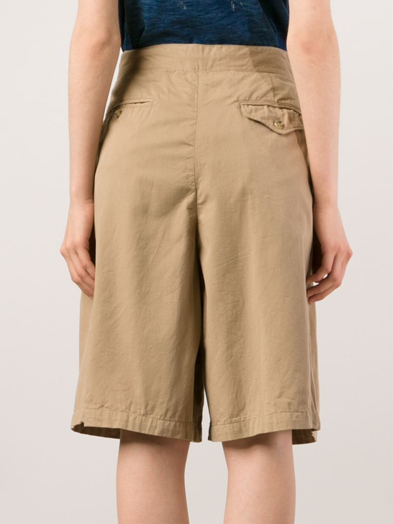 Engineered garments Pleated Wide Leg Shorts in Natural | Lyst