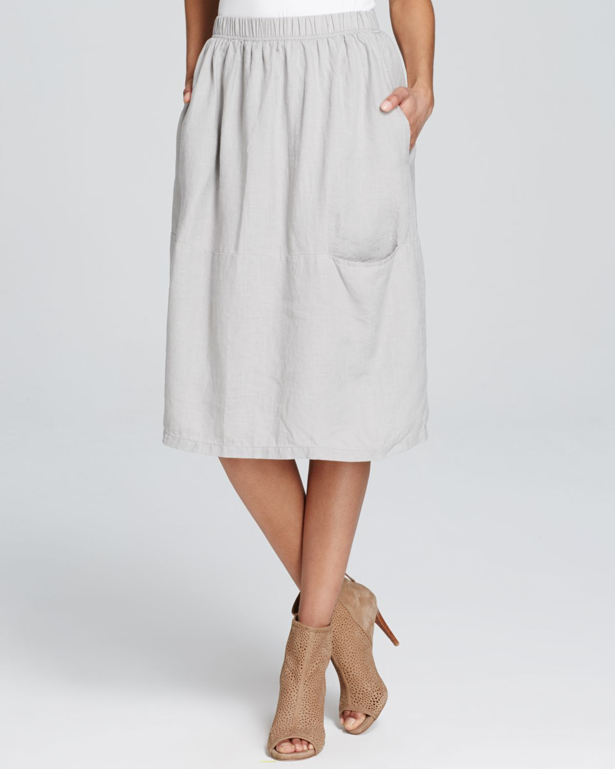 Lyst Eileen Fisher Linen Midi Skirt In Gray