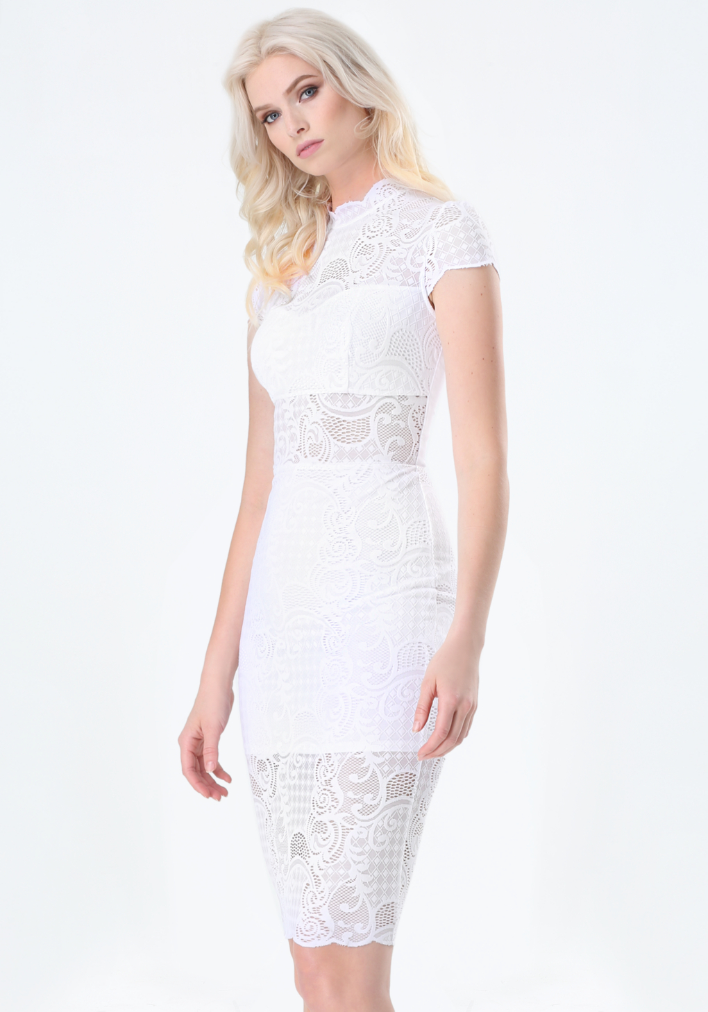 White dresses with lace overlay