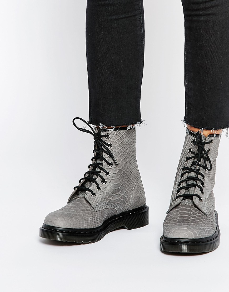 Lyst Dr Martens 1460 Gray Python Suede Boots In Gray