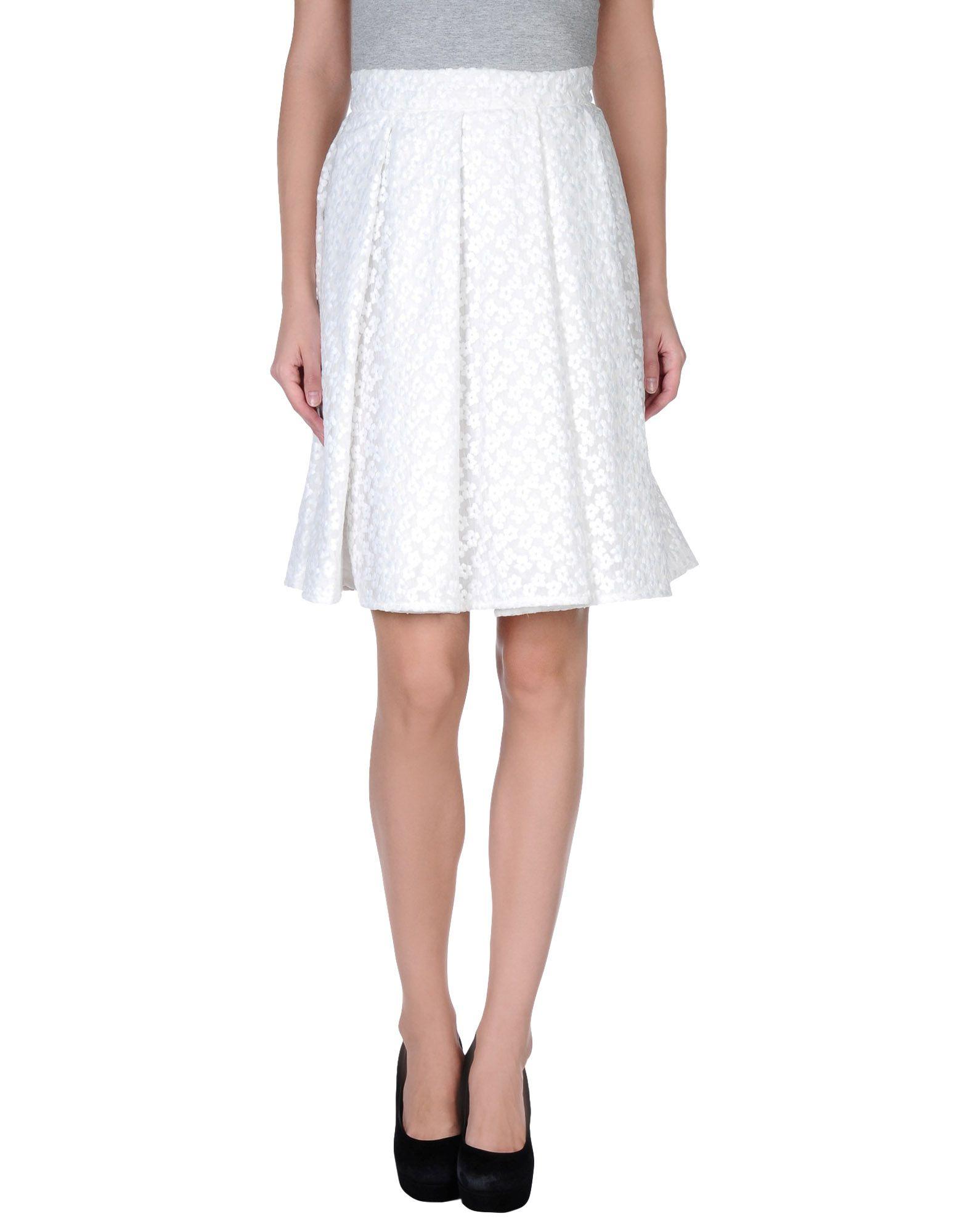j w knee length skirt in white lyst