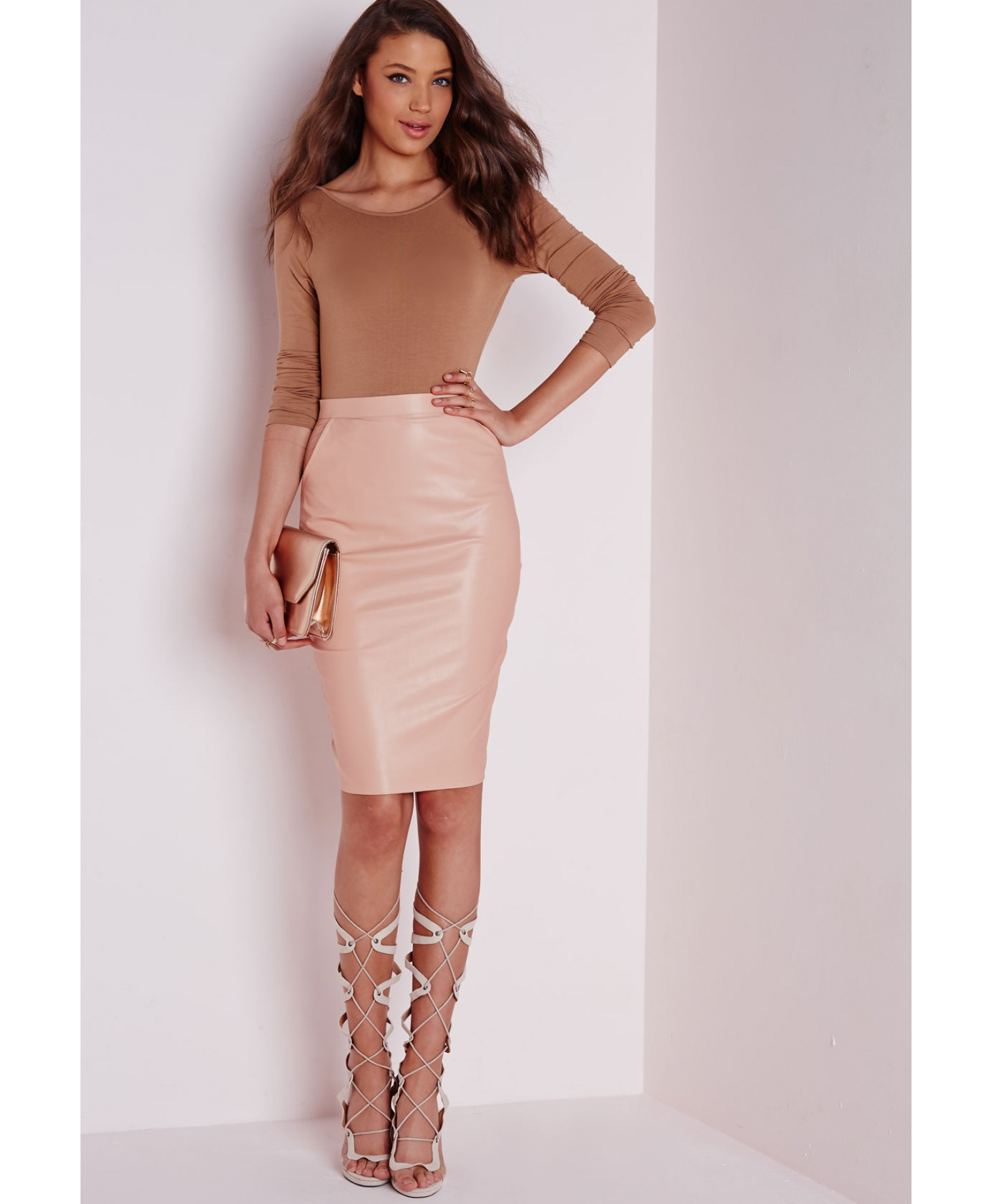 Missguided Mariota Faux Leather Midi Skirt Nude in Natural | Lyst
