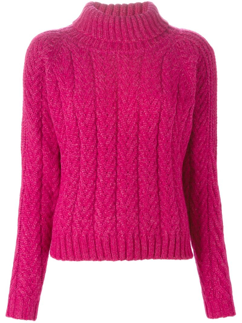 Cacharel Cable Knit Turtleneck Sweater in Pink | Lyst