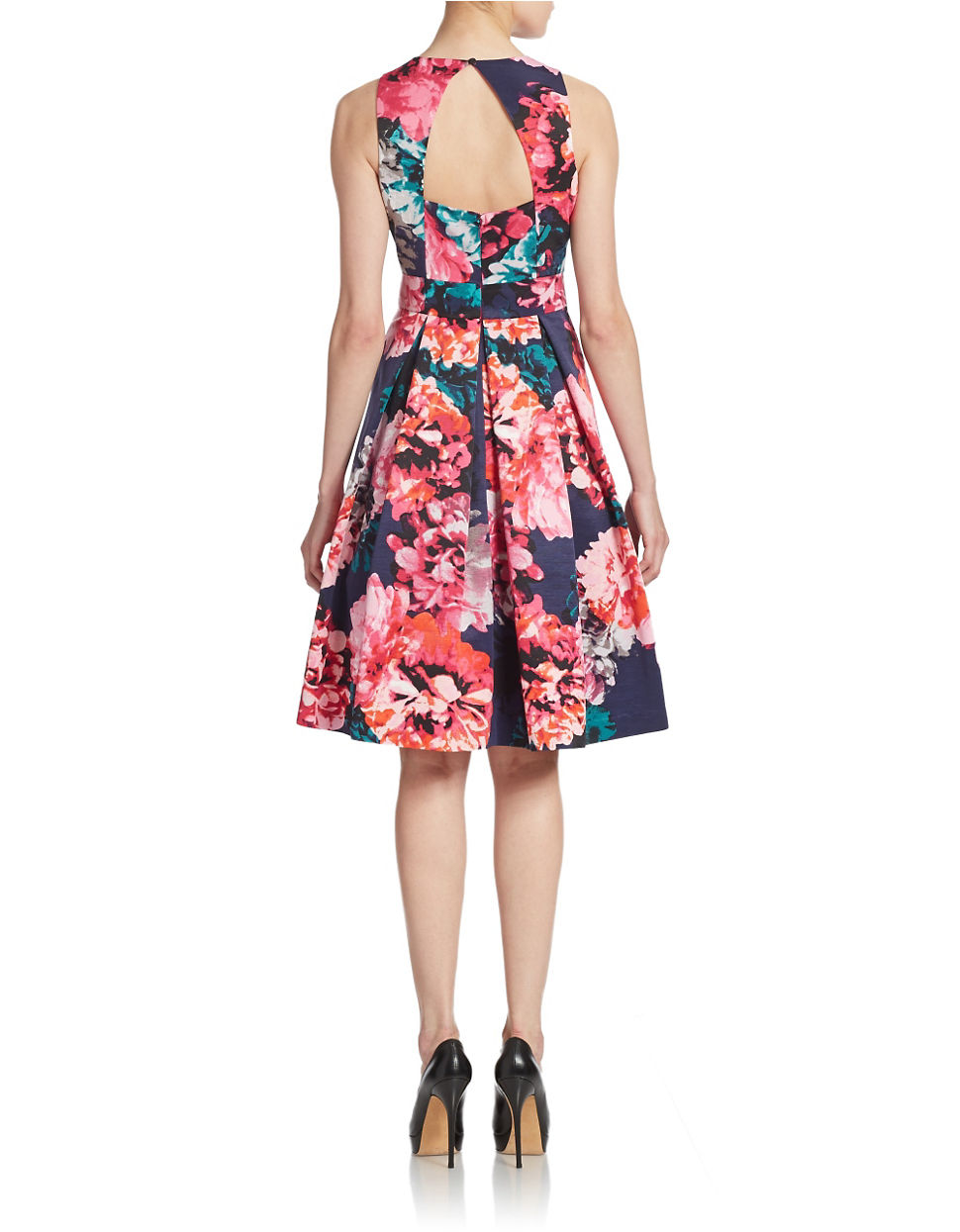Eliza J Floral Print Midi Fit And Flare Dress In Pink Lyst