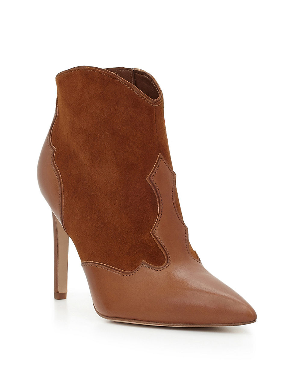 77d7dbbbd0f12f Lyst - Sam Edelman Bradley Leather And Suede Stiletto Booties in Brown