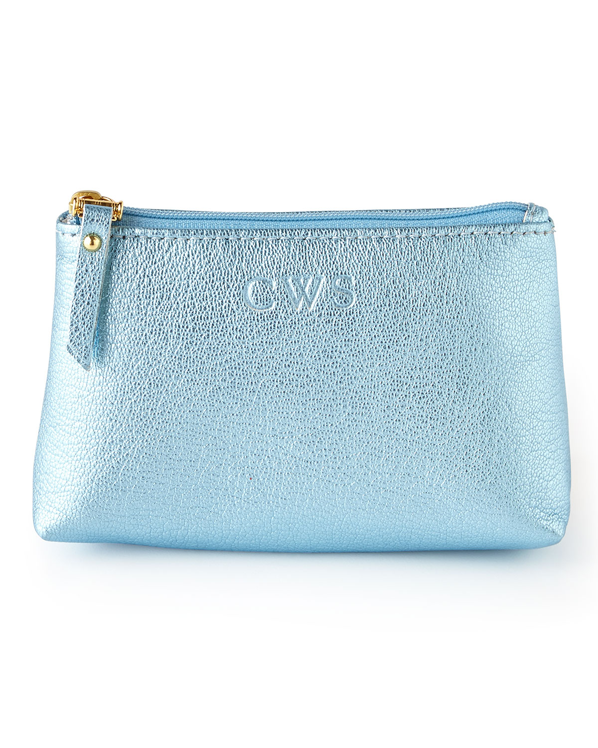 graphic image personalized metallic jewelry pouch in blue