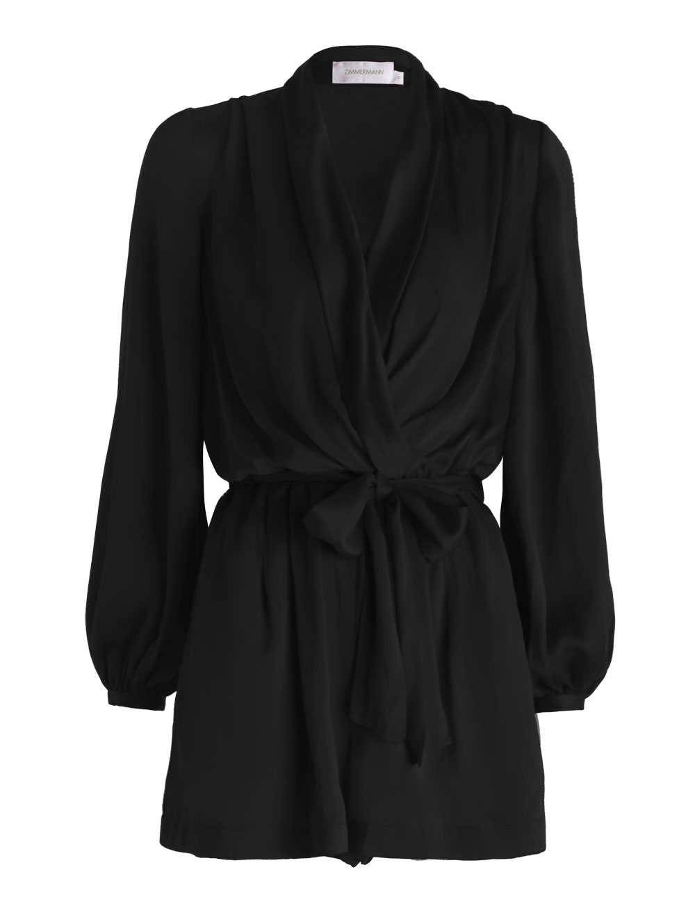 17495bd6373 Lyst - Zimmermann Sueded Silk Wrap Playsuit in Black