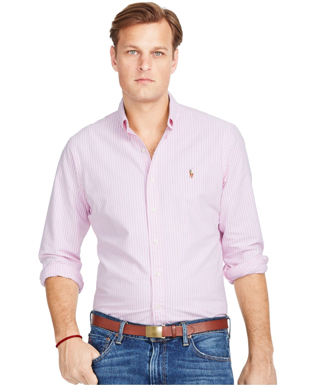 Polo ralph lauren big and tall striped oxford shirt in for Big and tall oxford shirts