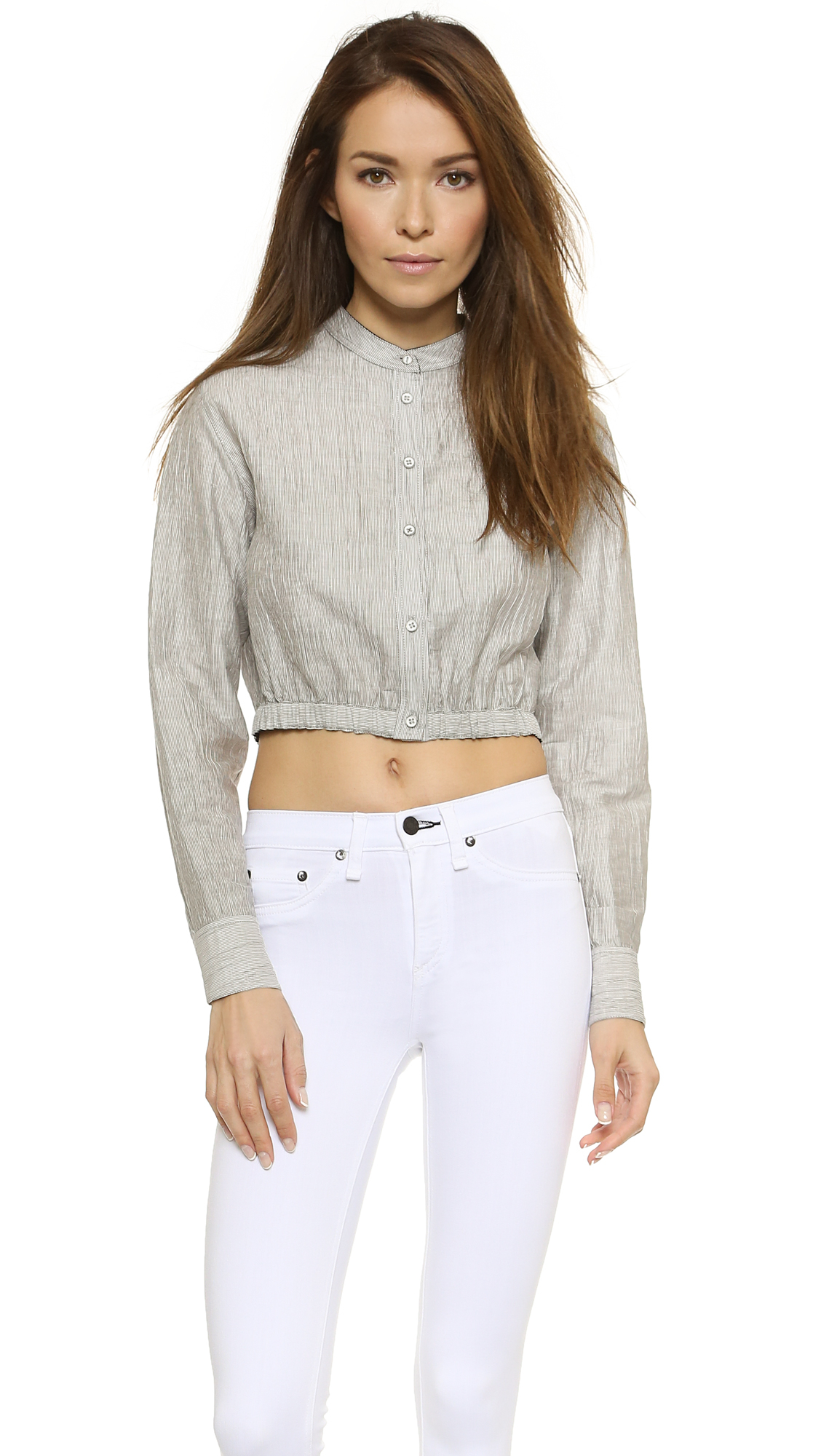 Rag Bone Slater Cropped Shirt In Gray Lyst