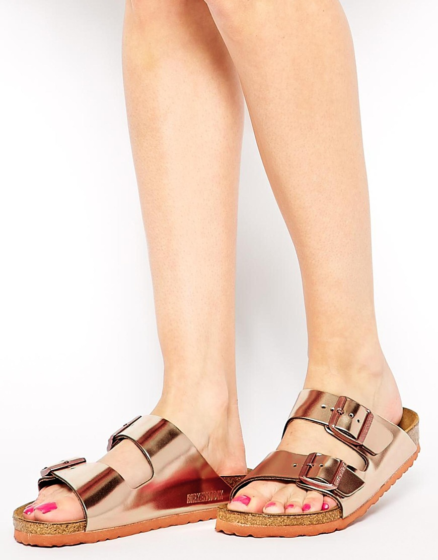 9de5cecd8ba Lyst - Birkenstock Arizona Metallic Leather Copper Flat Sandals in ...