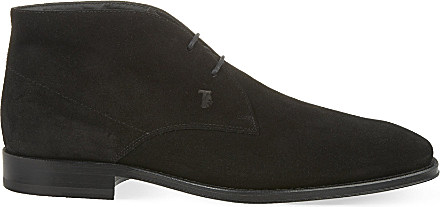 Tod's Suede Chukka Boots in Black for Men | Lyst