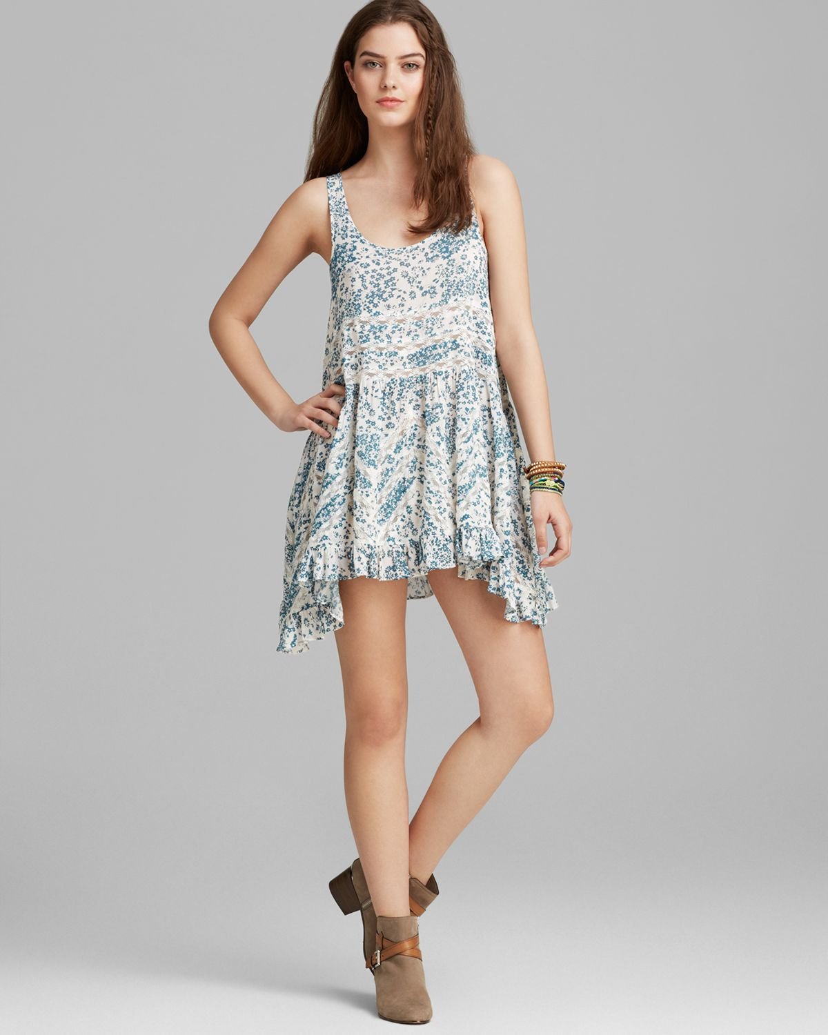 fde558cd10a7 Lyst - Free People Slip Dress Printed Voile and Lace Trapeze