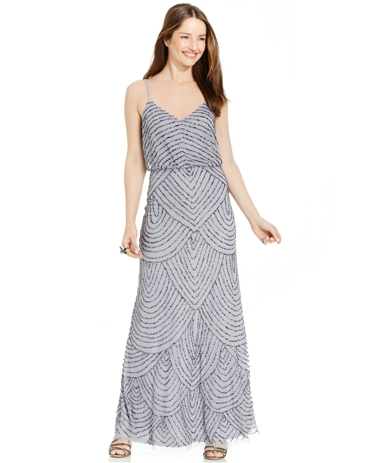 Lyst - Adrianna Papell Petite Beaded Blouson Gown in Metallic