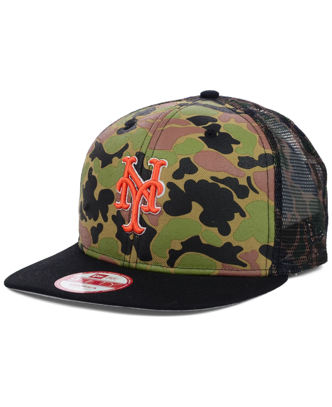 finest selection facac 65fd4 KTZ New York Mets Camo Face Mesh Trucker 9fifty Snapback Cap in ...