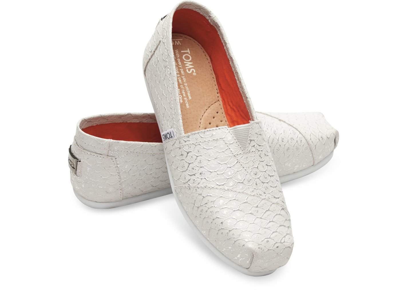 toms white silver leather scales s classics in white