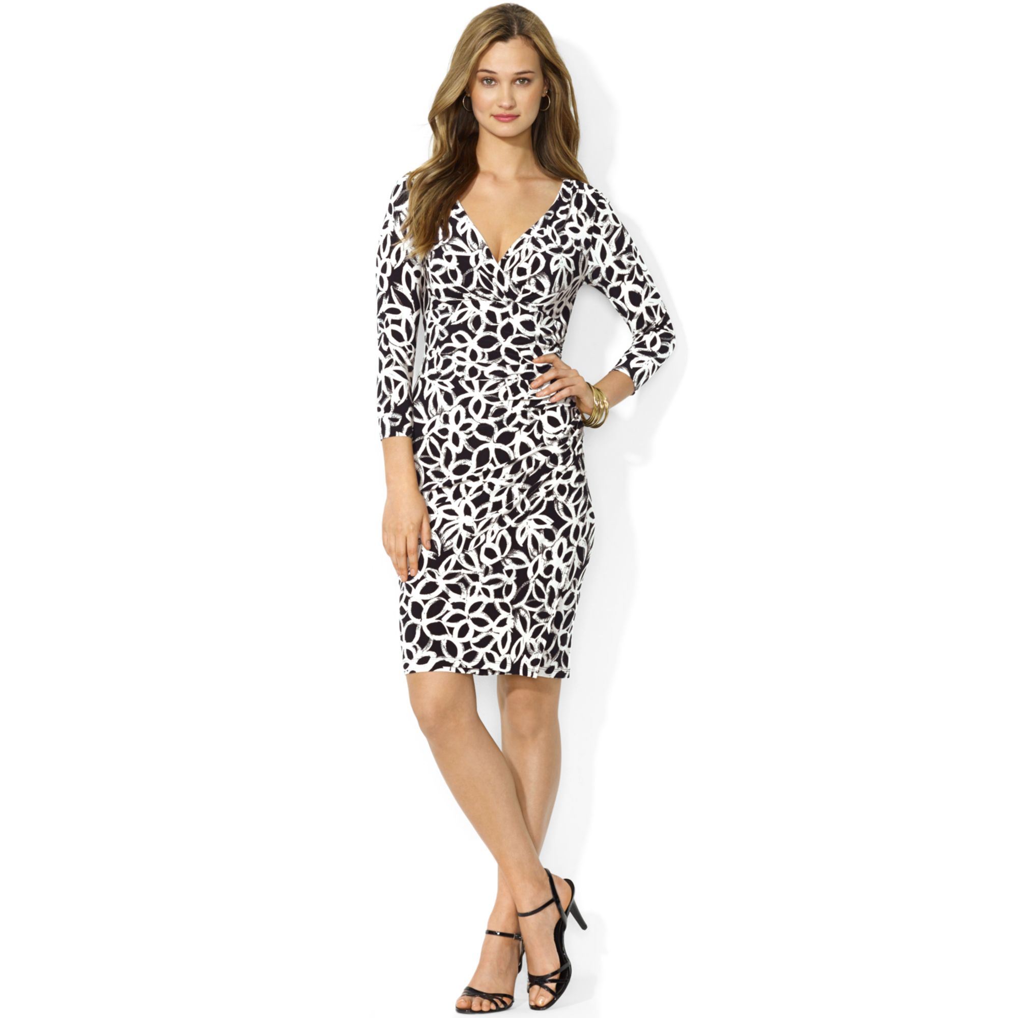 Lauren By Ralph Lauren Animal Print Faux Wrap Dress In