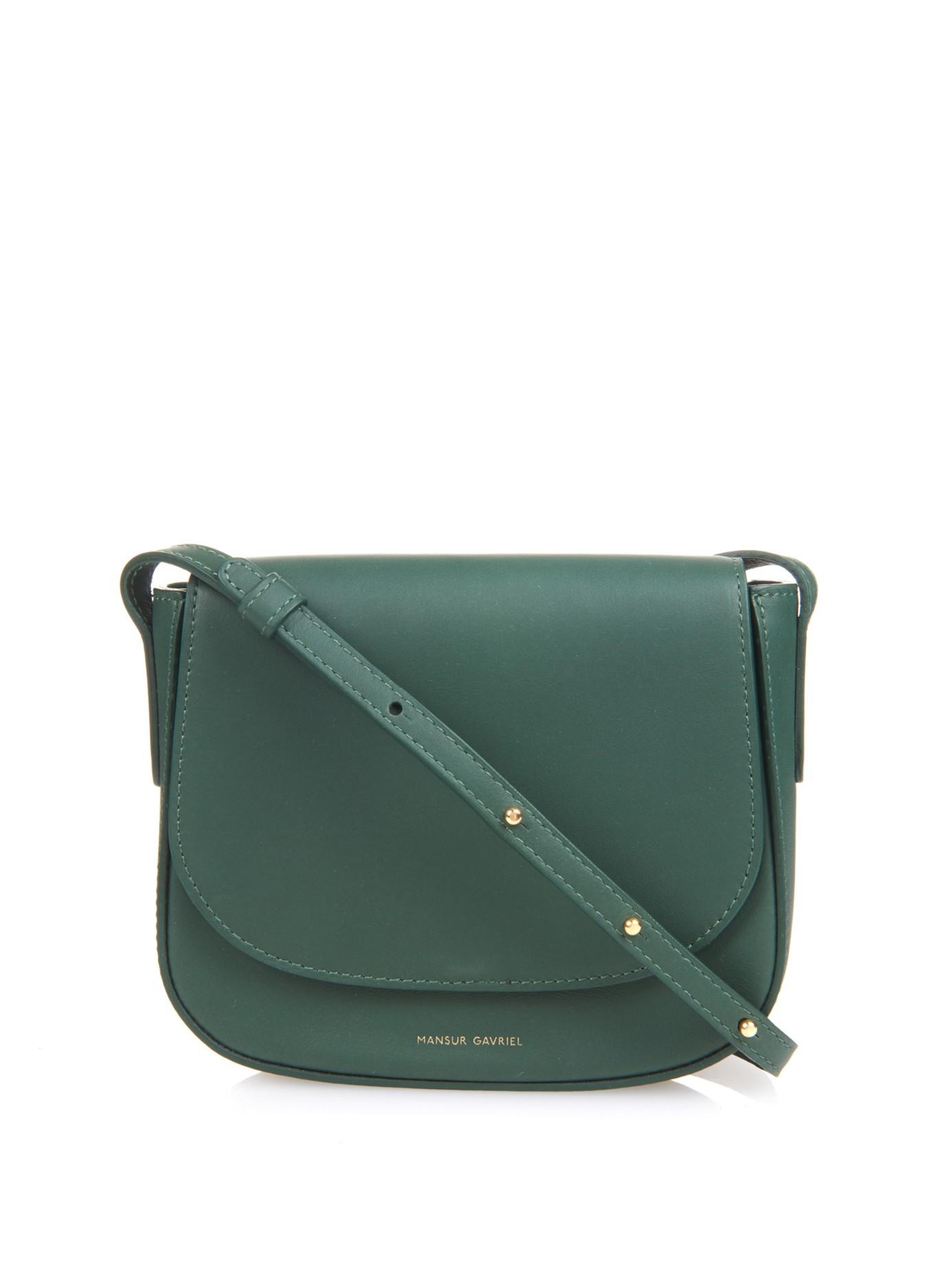 a734848b4fd5 Lyst - Mansur Gavriel Mini Calf-Leather Cross-Body Bag in Green