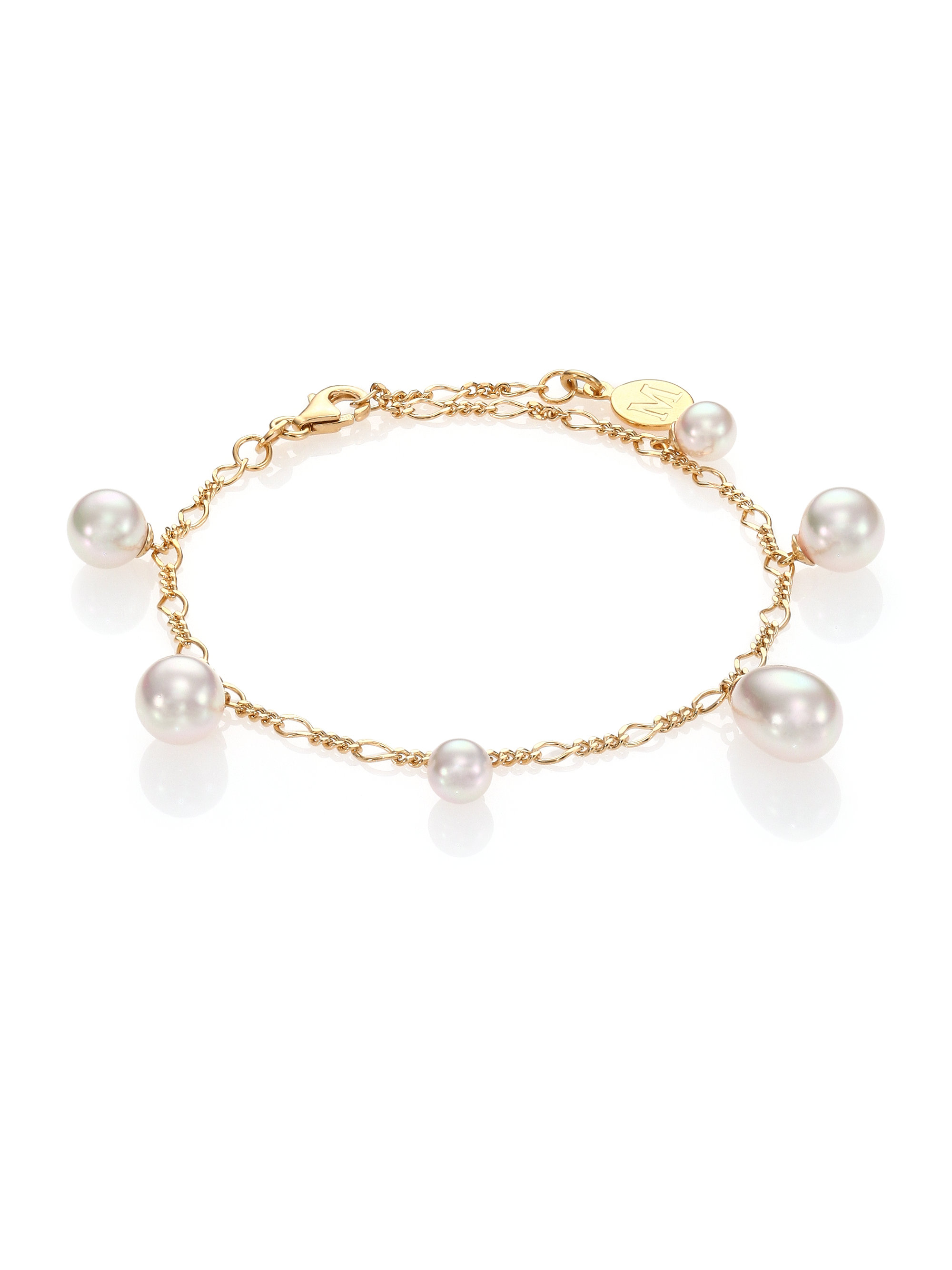 majorica rain 6mm 9mm white pearl charm bracelet in