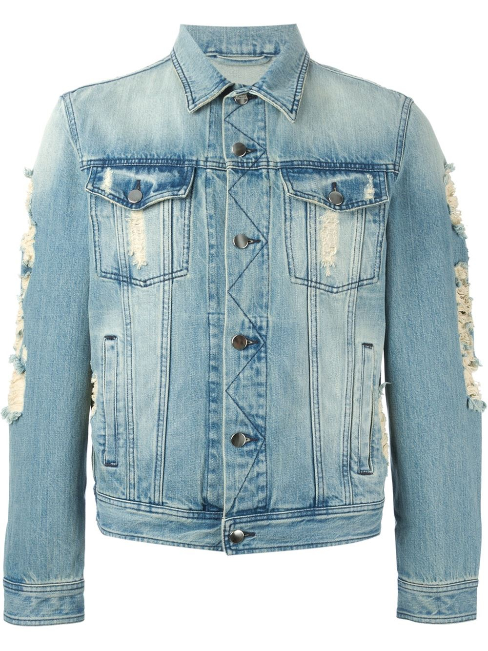 Ami Distressed Denim Jacket In Blue For Men Lyst