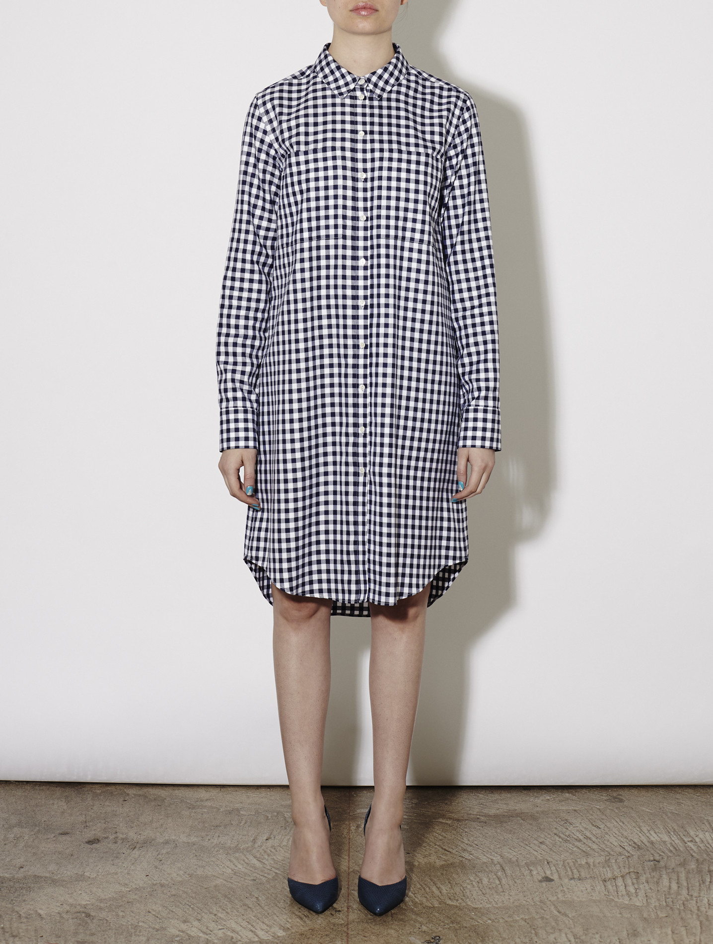 Rhi Gingham Twill Shirt Dress Navy White In Multicolor