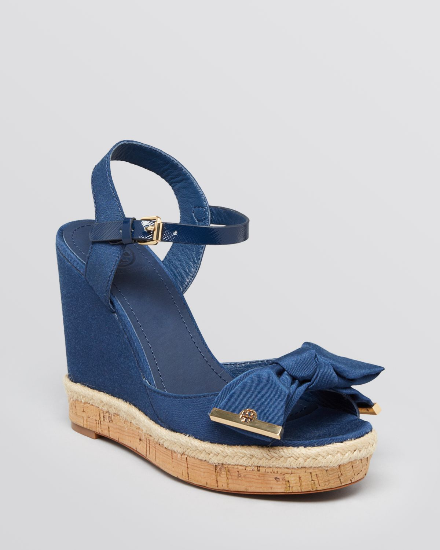 a30a22f6b395d ... coupon lyst tory burch platform wedge sandals penny in blue 47a2f 0da09