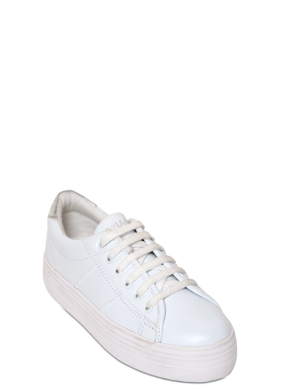 Lyst No Name 40mm Plato Leather Platform Sneakers In White