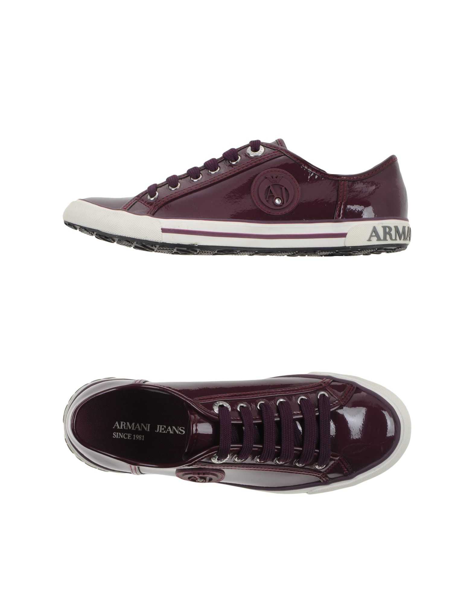 armani low tops trainers in purple lyst