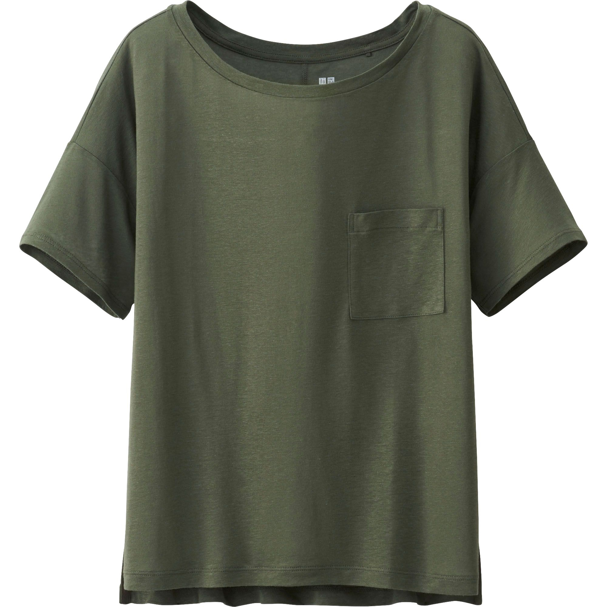 Uniqlo Women Modal Linen Short Sleeve Boxy T Shirt In