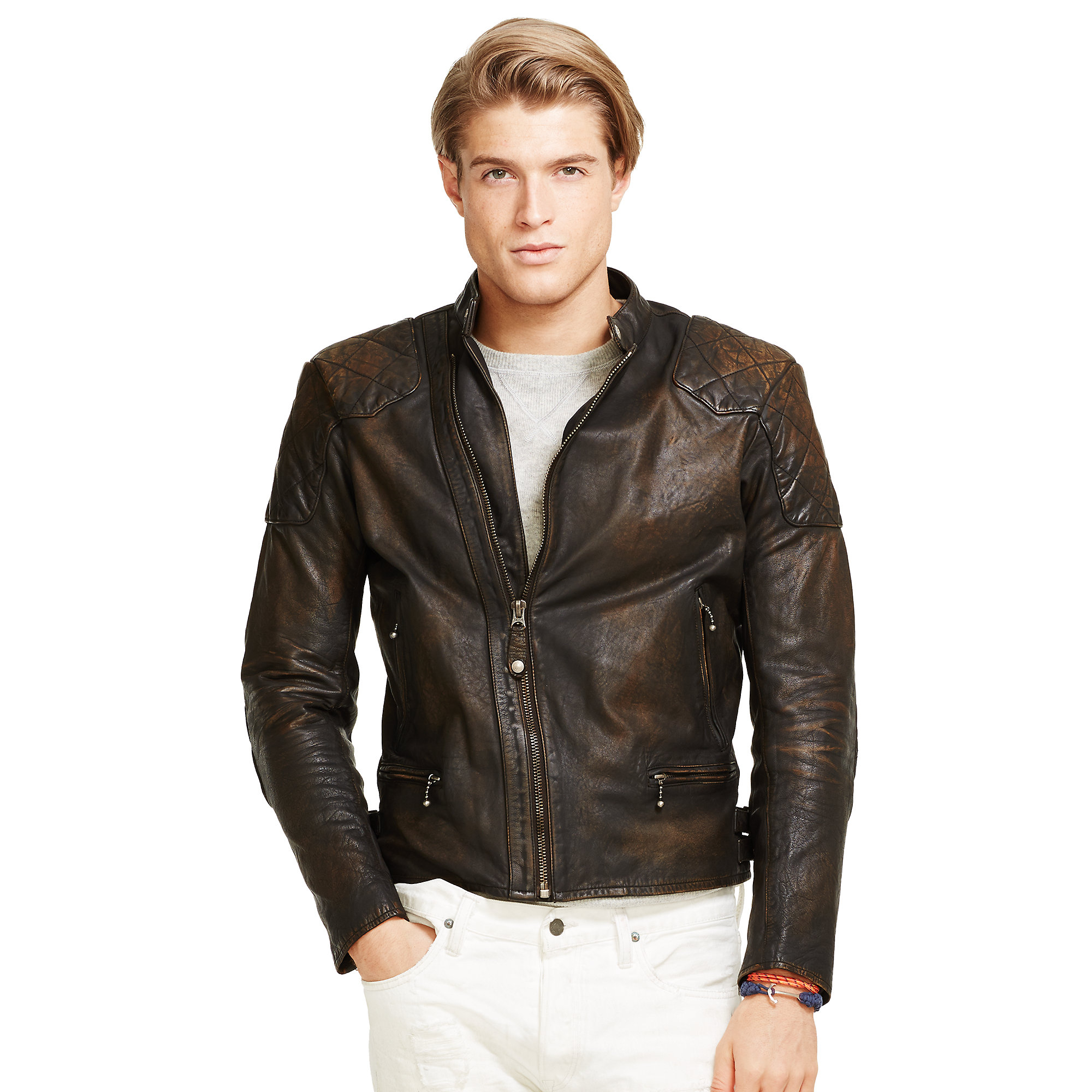 lyst polo ralph lauren leather caf racer jacket in. Black Bedroom Furniture Sets. Home Design Ideas