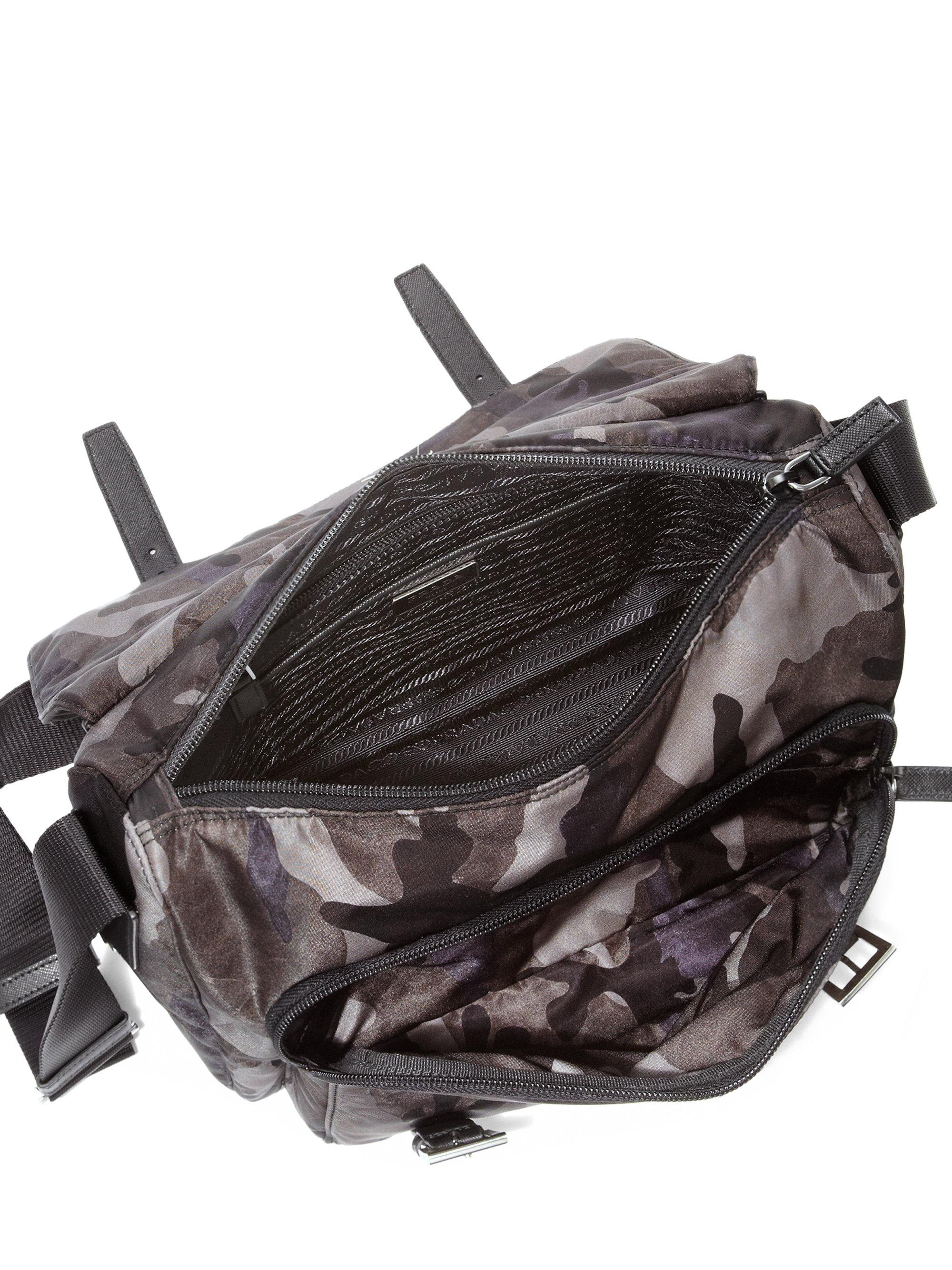 Prada Tessuto Camouflage Messenger Bag in Gray (FUMO-GREY) | Lyst