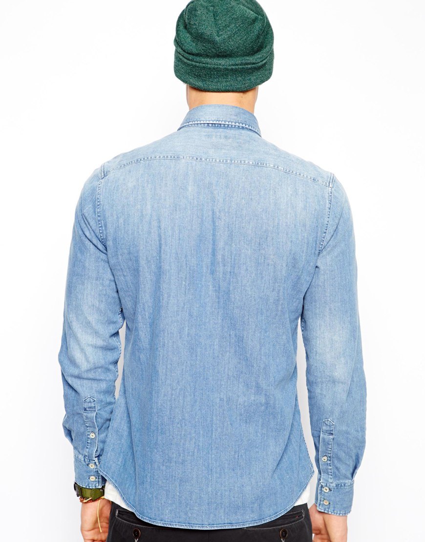 3382c31f45a Lyst - Replay Denim Shirt Barcelona Fc Collection in Blue for Men