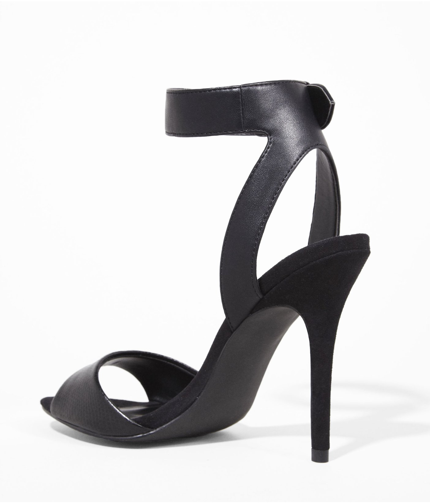 Express Wide Ankle Strap Heeled Runway Sandal in Black | Lyst
