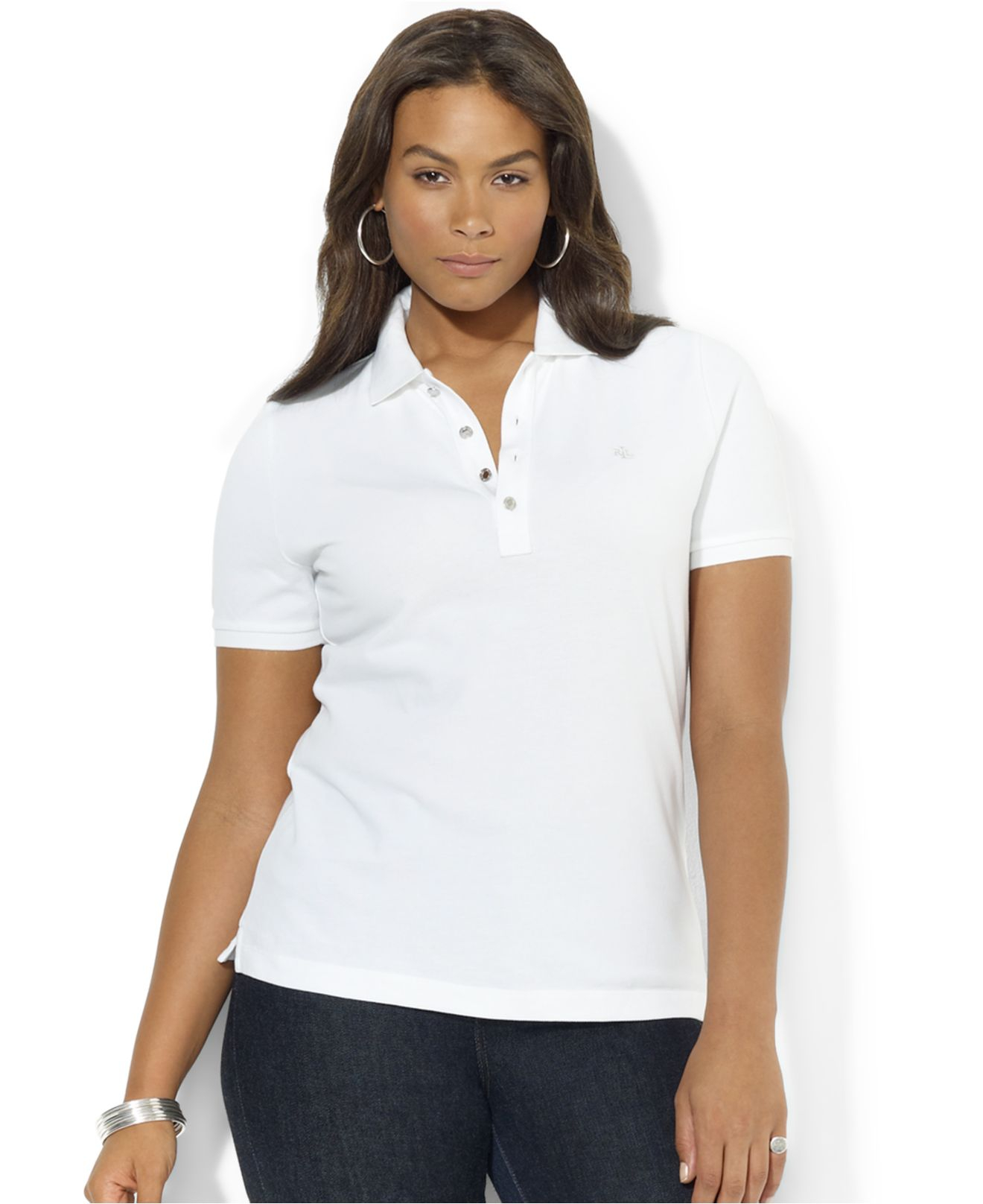 Lauren By Ralph Lauren Plus Size Polo Shirt In White Lyst
