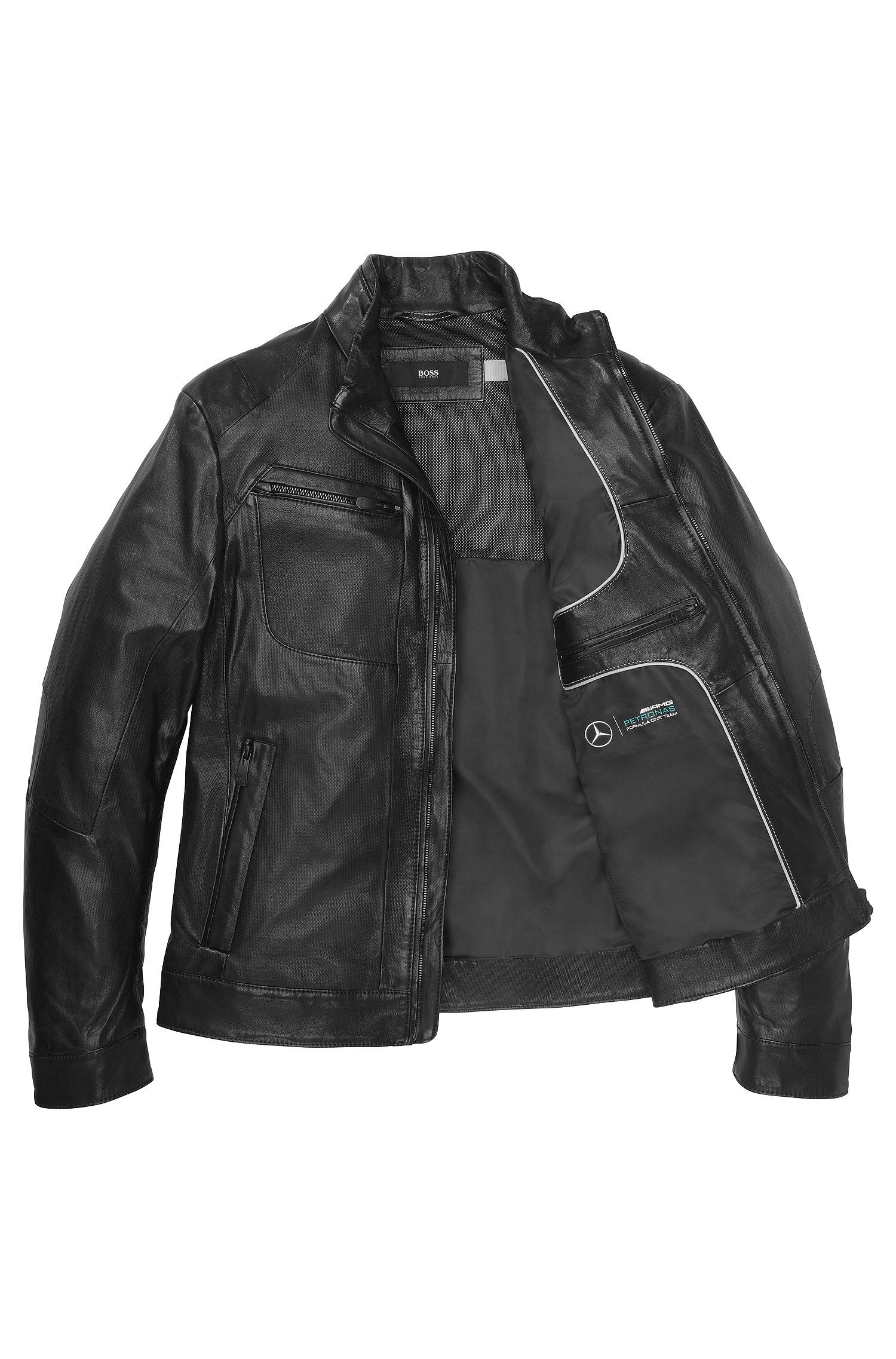 Boss alven genuine leather jacket in black for men blk for Mercedes benz leather jacket