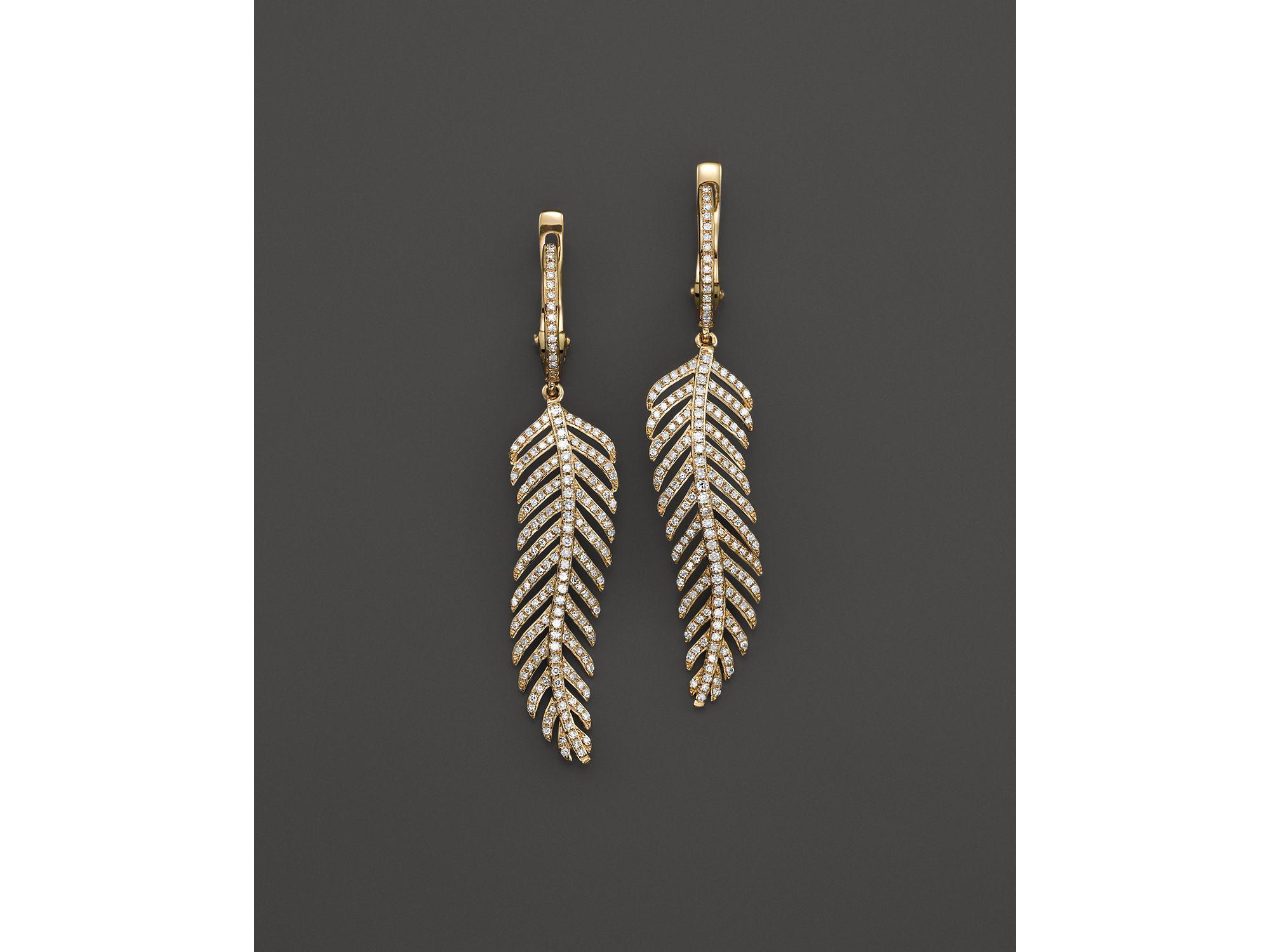 kc designs diamond wavy feather drop earrings in 14k