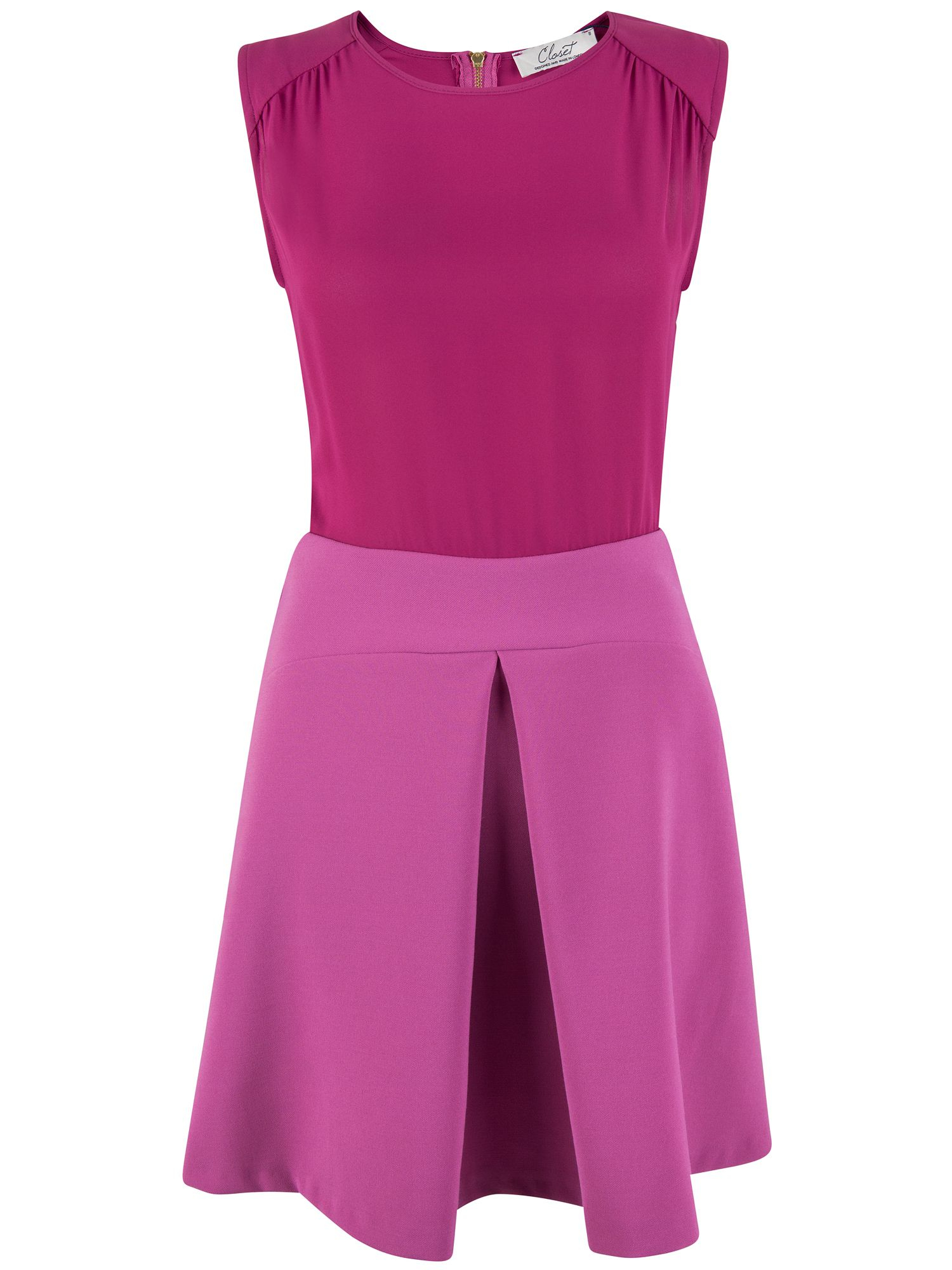 closet pleat a line skirt dress in pink lyst
